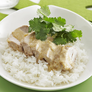 Pork Tenderloin in a Creamy Coconut Sauce.