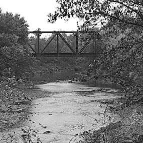 2nd Street Dam by Amber Reeder Crowl - Landscapes Waterscapes ( water, railroad, dam, current, bridge, river,  )
