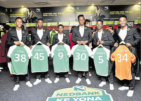 SUITED FOR OCCASION: Here are the Players in the Nedbank Ke Yona team, from left, striker Asivile Tom, midfielder Buyelekhaya Velelwandle, midfielder Axolile Kapo, midfielder Mzikayise Williams, right-back Xolela Bonxa and goalkeeper Camagu Kanana.