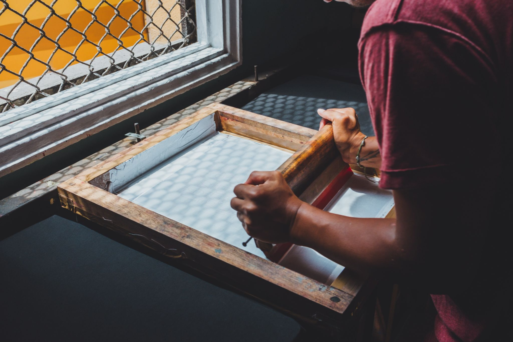 Screen printing in front of a window