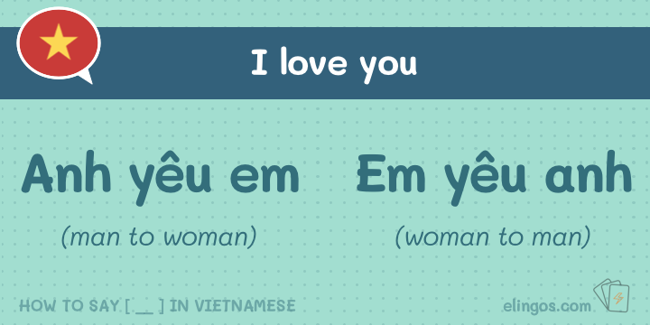 I love you in Vietnamese to guy and to a girl