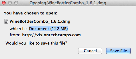 Installing WineBottler on Mac OS X