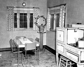Photo: the 1946 kitchen from another angle. The stove is obviously from another decade.