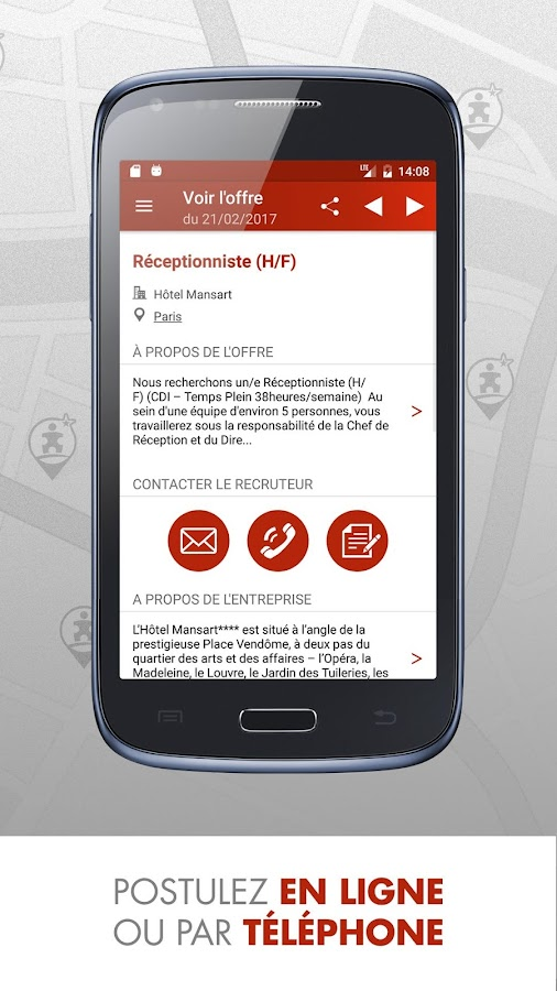 Emploi h tellerie restauration applications android sur for Restauration emploi