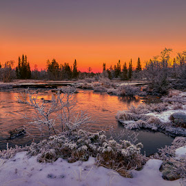 Red Sunset by John Aavitsland - Landscapes Sunsets & Sunrises ( red, 2018, sunset, norway, winter, river )