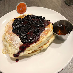 Gluten free blueberry and maple syrup pancakes. So fluffy. Delicious!!