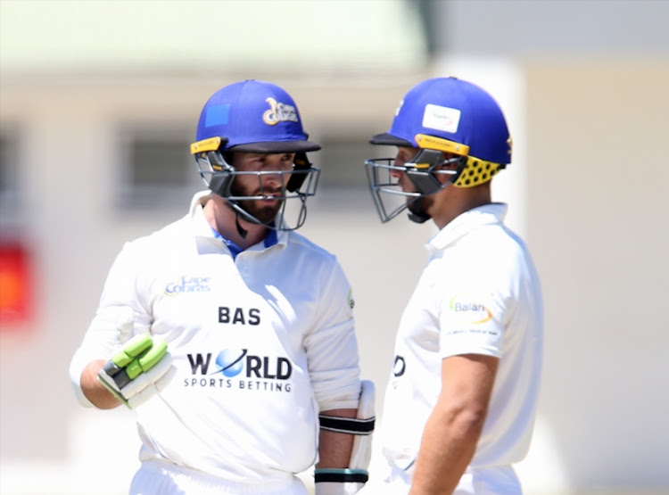 Pieter Malan and Janneman Malan of Cobras during day 3 of the 4 Day Franchise Series match between WSB Cape Cobras and bizhub Highveld Lions at Eurolux Boland Park on November 07, 2018 in Paarl, South Africa.