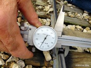 "Photo: George Leventon doing track gauge measurements.  7.705""    HALS Work Day 2015-0411 RPW"