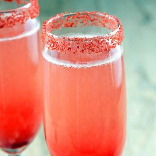 Strawberry Bellini Champagne Cocktail.