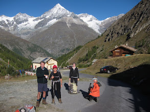 Photo: From St. Niklaus, we take a train and a taxi to Taschalp (7261 ft / 2214 m), where we begin our hike into Zermatt. Carole and Stuart join us for the final segment of our trip!