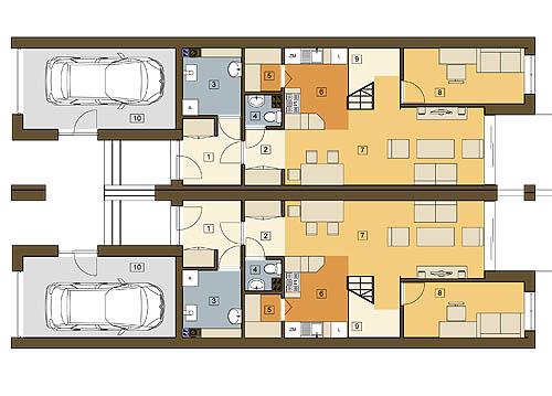 Long z garażem 1-st. bliźniak A-BL2 - Rzut parteru