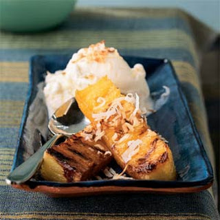 Rum Infused, Grilled Pineapple with Coconut Topping. Recipe
