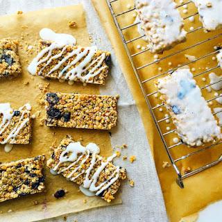 Blueberry Granola Bars with Greek Yogurt Glaze