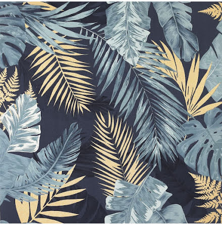 Arthouse Soft Tropical Palms Tapet med palmblad 297203 Navy / Guld