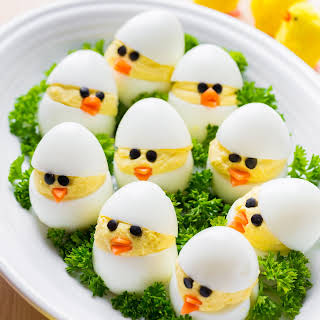 Easter Egg Recipe - Deviled Egg Chicks.