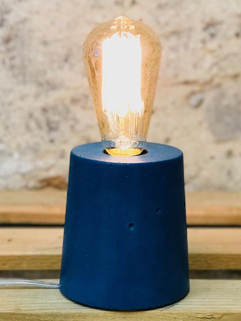 lampe béton couleur bleu pétrole forme design cylindre