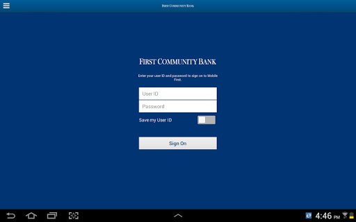 First Community Bank Tablet