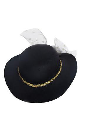 Damhatt svart med guldband