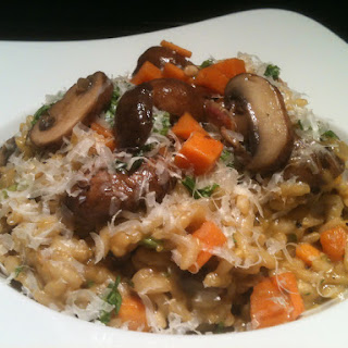 Risotto with Mushrooms and Sweet Potato.