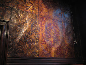 """Photo: We got really familiar with this stuff. It's panels of stamped, gilded leather, which were used for """"wallpaper"""". Imagine how much work and how expensive that would be? Originally, they came from Spain, but later on they started making them more locally."""