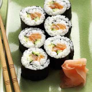 Salmon and Cucumber Sushi.