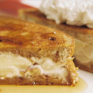 Caramel Apple Cream And White Chocolate Stuffed French Toast