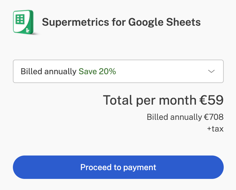 checkout form for supermetrics for google sheets