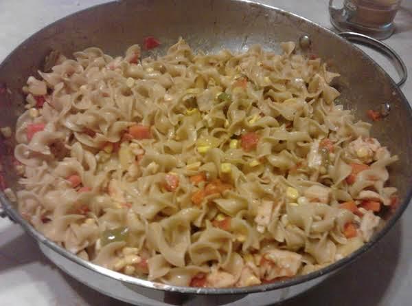 Shai's Portuguese Chorizo & Veggies Over Noodles