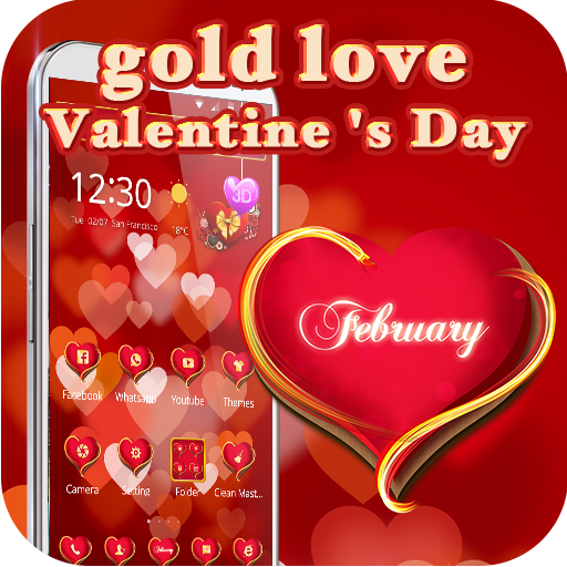 3d Love theme Golden Valentine (app)