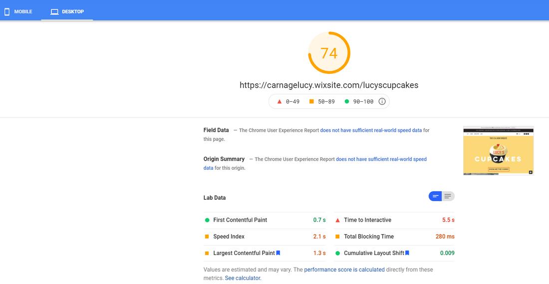 lucys cupcakes desktop pagespeed score