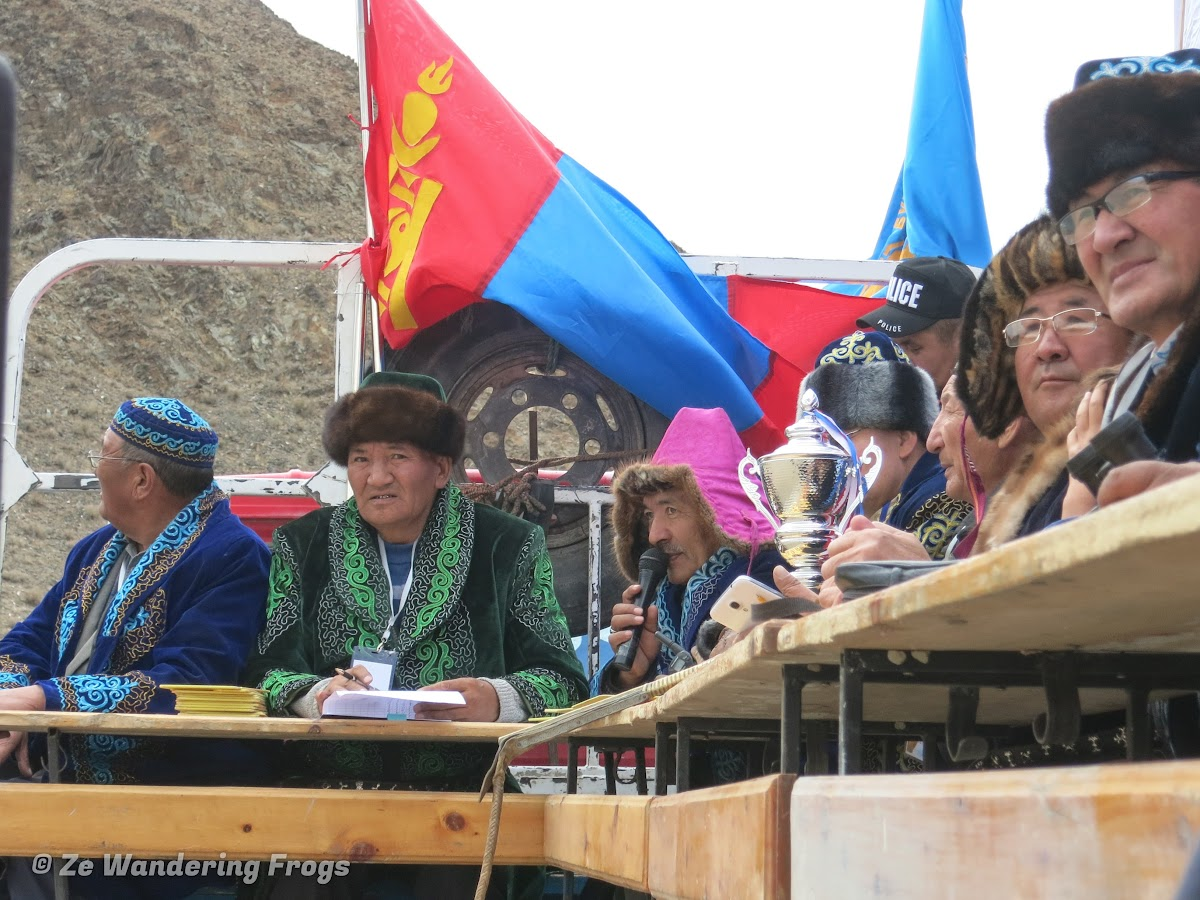 Mongolia. Golden Eagle Festival Olgii. Judges at Golden Eagle Festival