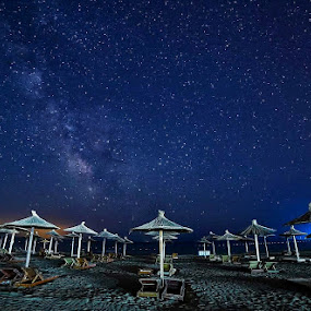 Beach at midnight  by Zoran Savic - Landscapes Beaches ( night photo, sky, midnight, night photography, beach )