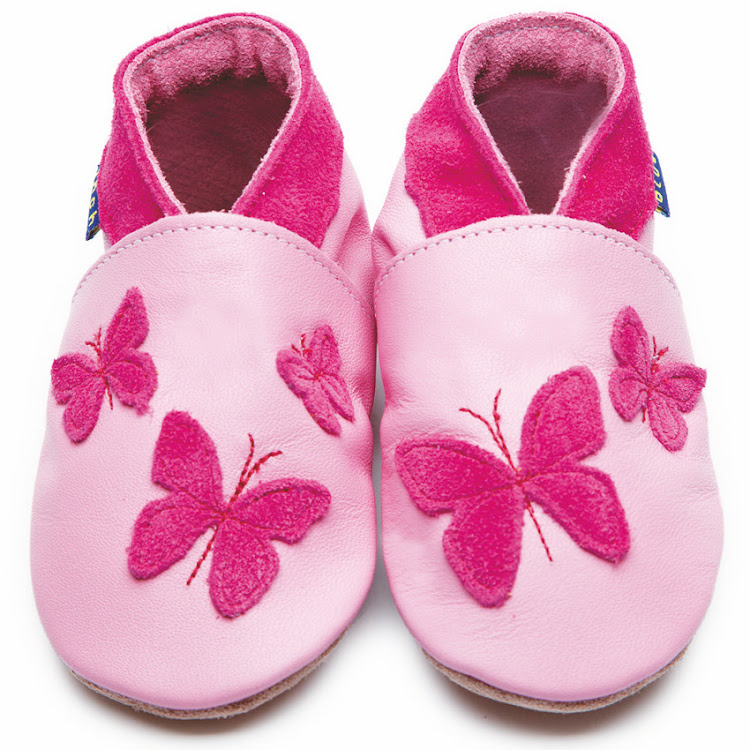 Inch Blue Soft Sole Leather Shoes - Kaleidoscope Pink (12-18 months) by Berry Wonderful