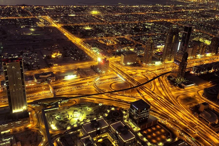 Dubai traffic  by Flora Rikin - City,  Street & Park  Street Scenes ( traffic, dubai, downtown dubai, burj khalifa, golden hour )