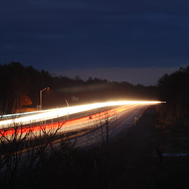 Road Light by Micah Lopez - Abstract Light Painting ( street lights, headlights, light painting, red light, highway, white light )