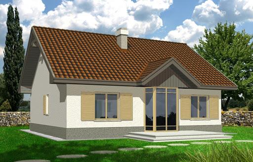 projekt Angela wersja D z pojedynczym garażem z prawej