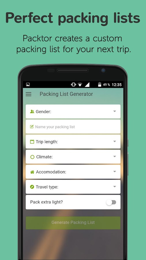 Packtor - Packing List Creator- screenshot