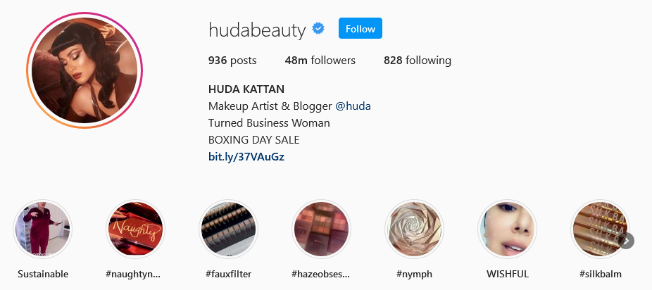 instagram brands Huda Beauty