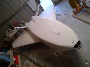 Photo: Primer complete on fuselage bottom and strake bottoms.