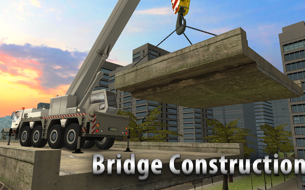 #1. Bridge Construction Crane Sim (Android)