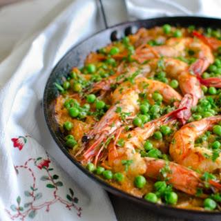 Kimchi Chorizo Shrimp Paella