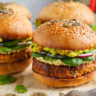 Vegan Sweet Potato Burger with Chickpeas & Spinach.