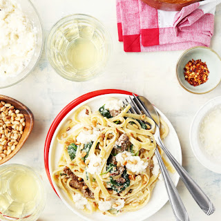 Creamed Spinach Pasta with Sausage and Pine Nuts Recipe