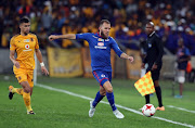 Jeremy Brockie (R) during the MTN 8 Quarter Final between Kaizer Chiefs and SuperSport United at Moses Mabhida Stadium on August 12, 2017 in Durban, South Africa.