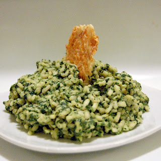 Green Garlic Risotto w/ Parmesan Crisps.