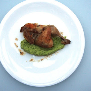Brussels Sprout Purée With Roast Poussin.