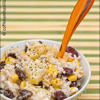 Rice Salad with Pineapple, Red Kidney Beans, Sweet Corn & Raisins.