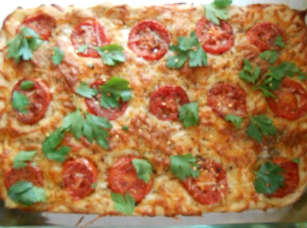 Bake 400° for 20-22 min.  Garnish with basil or chopped Italian parsley.