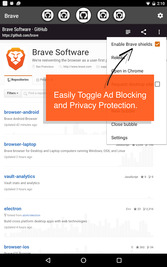 Brave Browser - Link Bubble- screenshot
