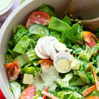 Rainbow Veggie Chef's Salad with Creamy Pesto Ranch Dressing